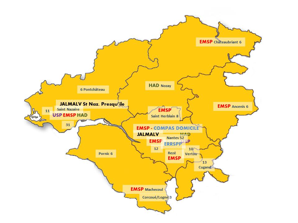 Carte territoire du réseau de soins palliatifs dans l'Estuaire de la Loire